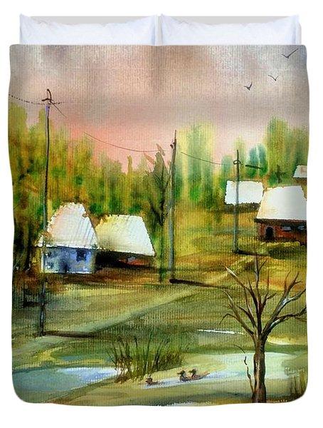 Sleepy Village Duvet Cover