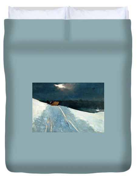 Duvet Cover featuring the painting Sleigh Ride by Winslow Homer
