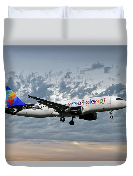 Small Planet Airlines Airbus A320-214 Duvet Cover
