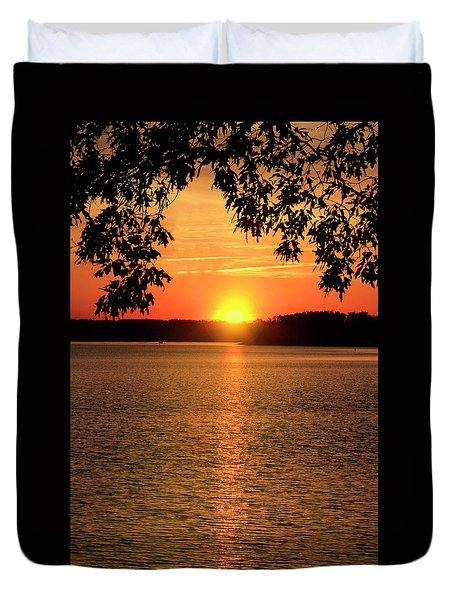 Smith Mountain Lake Silhouette Sunset Duvet Cover