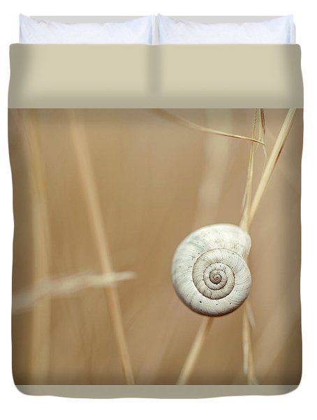 Snail On Autum Grass Blade Duvet Cover