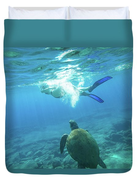 Snorkeler Female Sea Turtle Duvet Cover