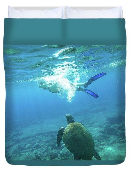 Snorkeler Female Sea Turtle Duvet Cover