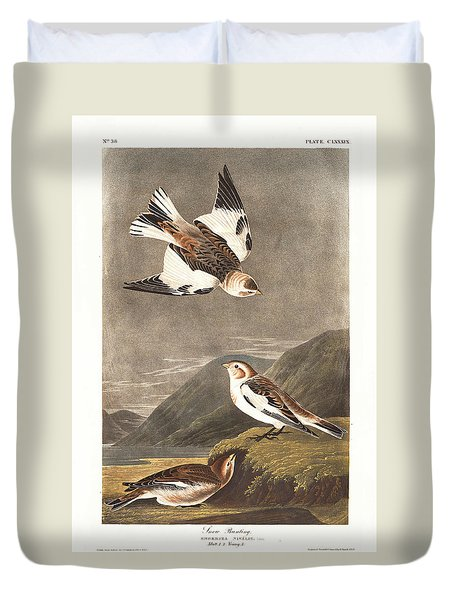 Snow Bunting Duvet Cover by Anton Oreshkin