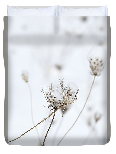 Snow Covered Queen Anne's Lace Duvet Cover