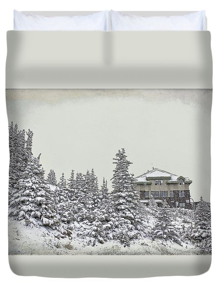 Duvet Cover featuring the photograph Snow In July by Teresa Zieba