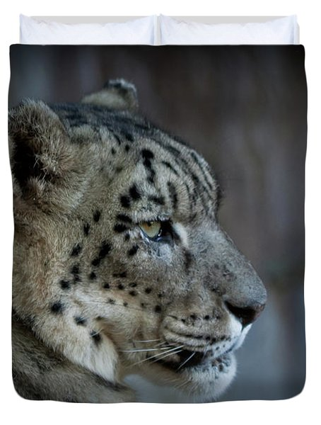 Duvet Cover featuring the photograph Snow Leopard by Roger Mullenhour