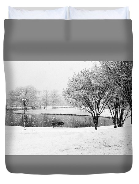 Snowy Day On Man Made Pond Duvet Cover by Andy Lawless