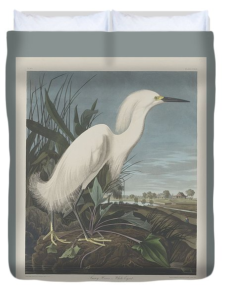 Snowy Heron Or White Egret Duvet Cover