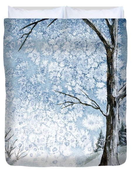 Snowy Night Duvet Cover by Rebecca Davis