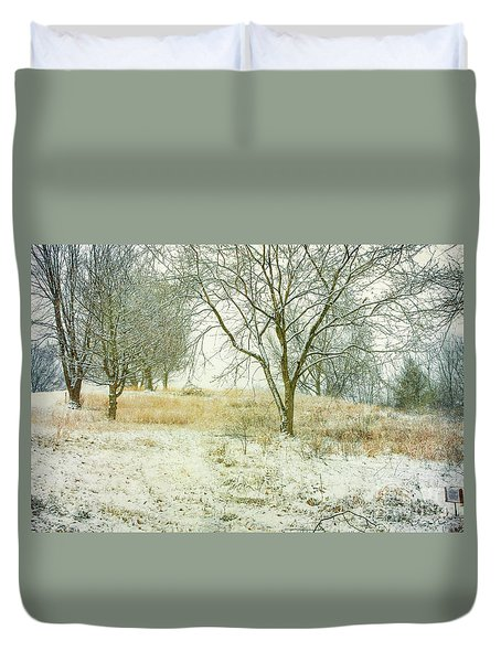 Duvet Cover featuring the digital art Snowy Winter Morning by Randy Steele