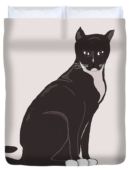 Socks The Cat Duvet Cover by Fred Jinkins