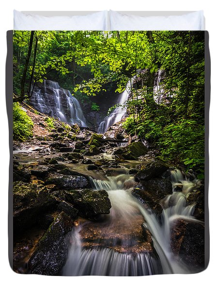 Duvet Cover featuring the photograph Soco Falls by Serge Skiba