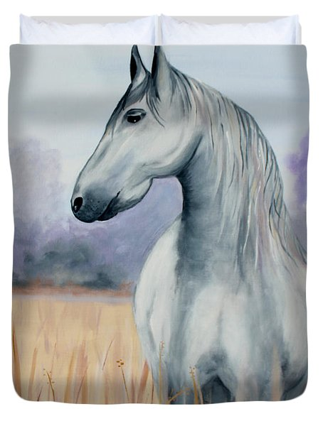 Duvet Cover featuring the painting Solemn Spirit by Stacey Zimmerman