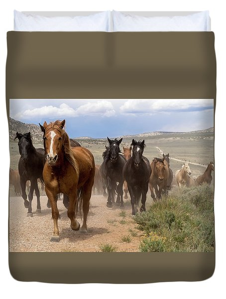 Duvet Cover featuring the photograph Sombrero Ranch Horse Drive, An Annual Event In Maybell, Colorado by Nadja Rider