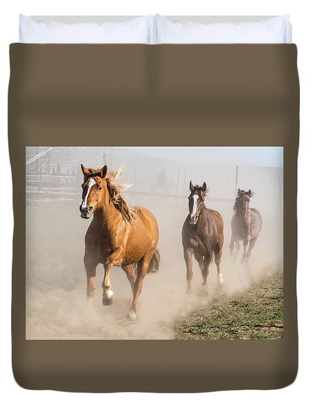 Duvet Cover featuring the photograph Sombrero Ranch Horse Drive At The Corrals by Nadja Rider