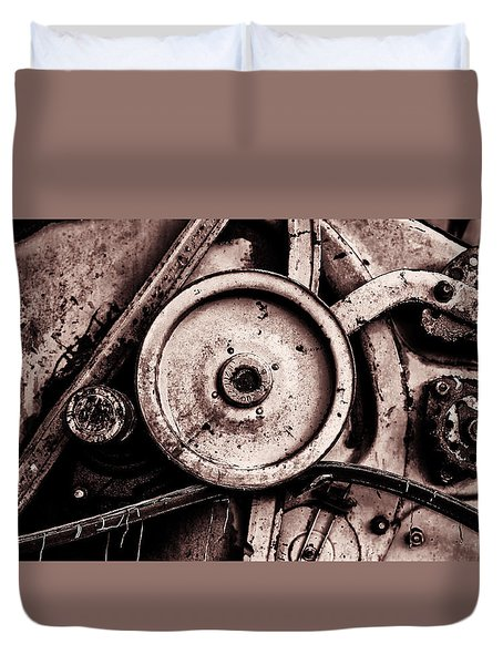 Soviet Ussr Combine Harvester Abstract Cogs In Monochrome Duvet Cover by John Williams
