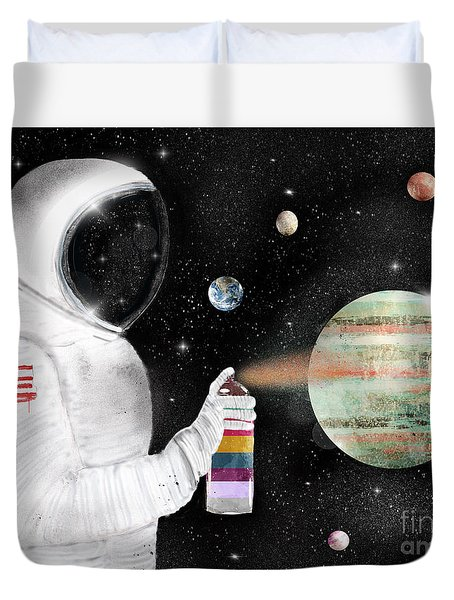 Duvet Cover featuring the painting Space Graffiti by Bri B