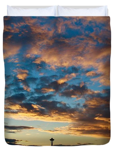 Space Needle In Clouds Duvet Cover