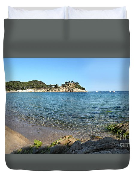 Spanish Beach Seascape Duvet Cover by Gregory Dyer