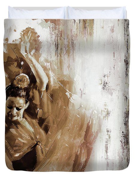 Duvet Cover featuring the painting Spanish Woman Dance  by Gull G