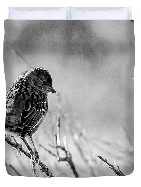 Snarky Sparrow, Black And White Duvet Cover