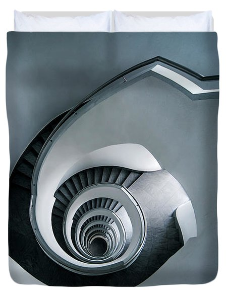 Spiral Staircase In Blue Tones Duvet Cover by Jaroslaw Blaminsky