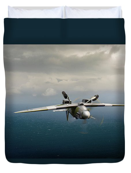 Duvet Cover featuring the photograph Spitfire Pr Xix Ps915 Inverted by Gary Eason