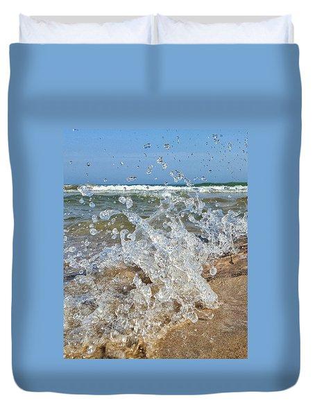 Duvet Cover featuring the photograph Splash by Nikki McInnes