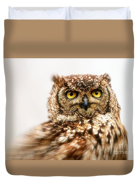 Duvet Cover featuring the photograph Spotted Eagle-owl  by Nick Biemans