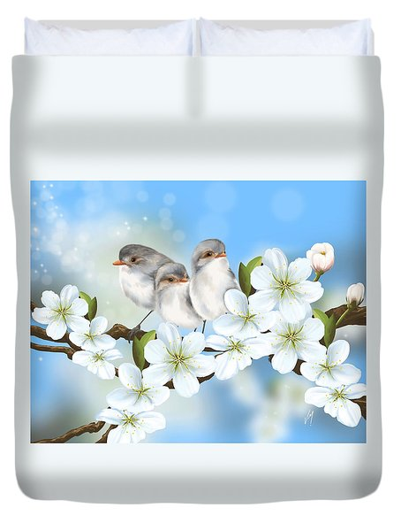 Duvet Cover featuring the painting Spring Fever by Veronica Minozzi