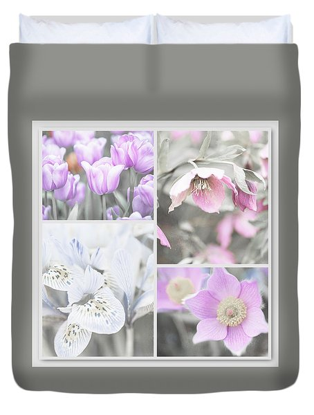 Duvet Cover featuring the photograph Spring Flower Collage. Shabby Chic Collection by Jenny Rainbow