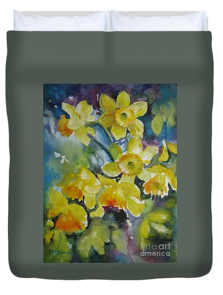 Duvet Cover featuring the painting Spring Flowers by Elena Oleniuc