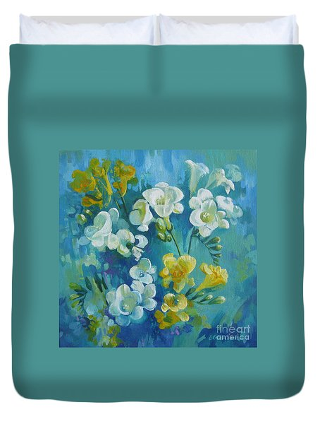 Duvet Cover featuring the painting Spring Fragrances by Elena Oleniuc