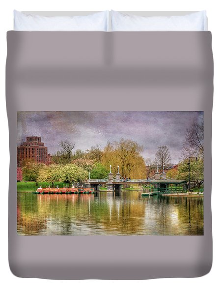 Duvet Cover featuring the photograph Spring In The Boston Public Garden by Joann Vitali