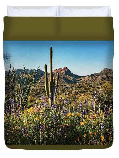 Duvet Cover featuring the photograph Spring In The Sonoran  by Saija Lehtonen
