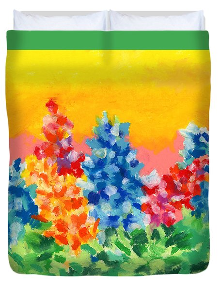 Duvet Cover featuring the painting Spring Wildflowers by Stephen Anderson