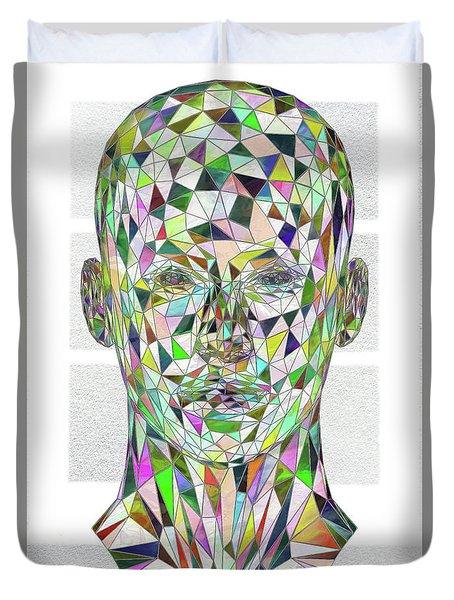 Duvet Cover featuring the digital art Stained Glass Abstract by John Haldane