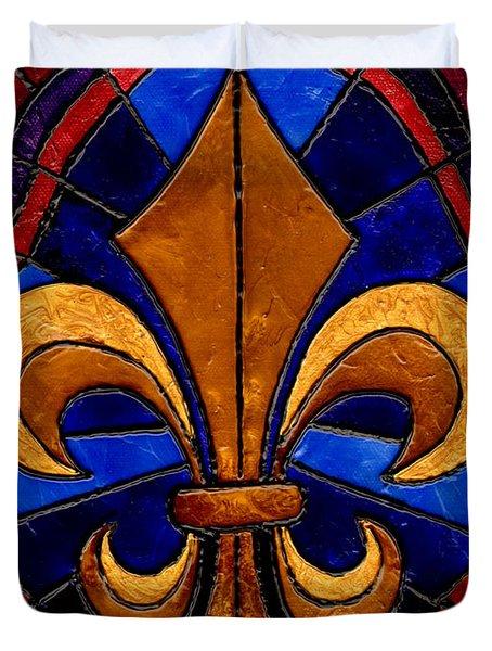 Stained Glass Fleur De Lis Duvet Cover by Elaine Hodges