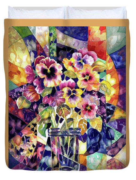 Stained Glass Pansies Duvet Cover