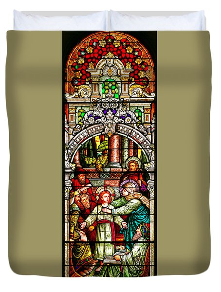Duvet Cover featuring the photograph Stained Glass Scene 3 Crop by Adam Jewell