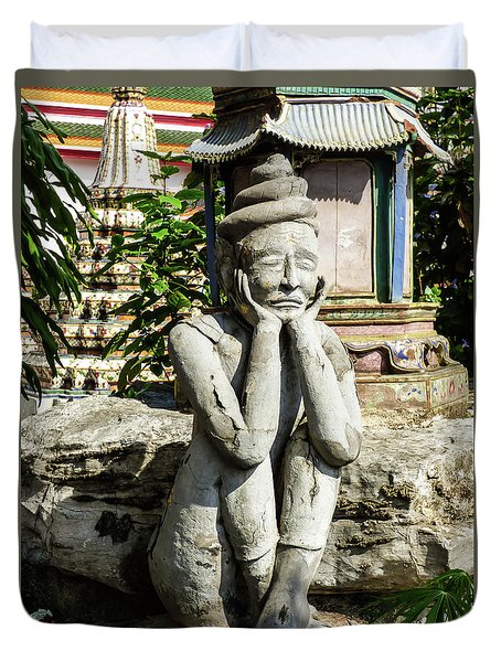 Statue Depicting A Thai Yoga Pose At Wat Pho Temple Duvet Cover