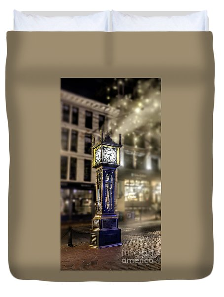 Duvet Cover featuring the photograph Steam Clock by Jim  Hatch