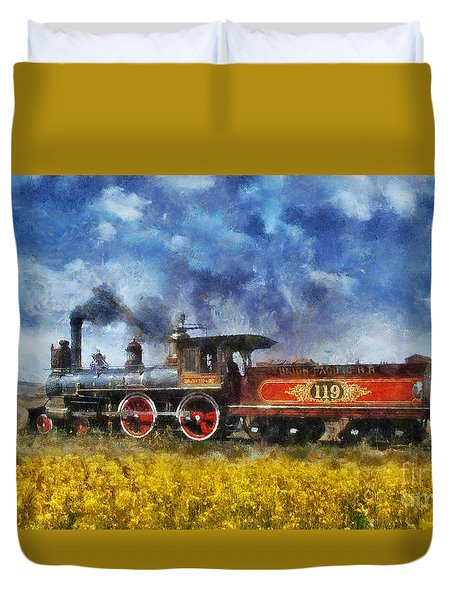 Duvet Cover featuring the photograph Steam Locomotive by Ian Mitchell