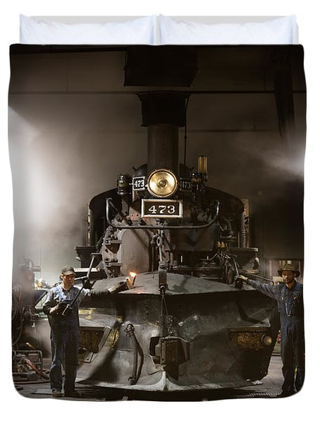 Duvet Cover featuring the photograph Steam Locomotive In The Roundhouse Of The Durango And Silverton Narrow Gauge Railroad In Durango by Carol M Highsmith