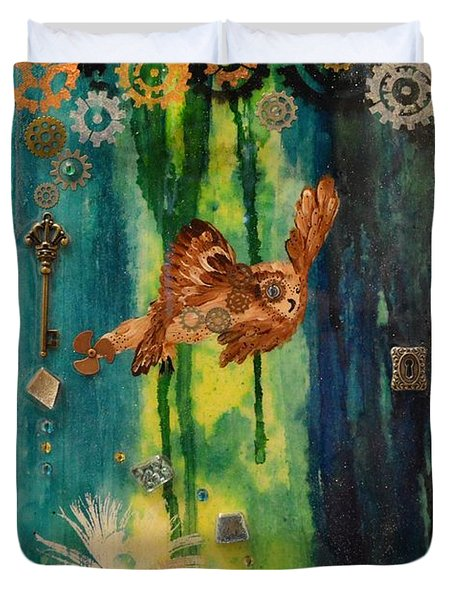 Steampunk Owl Blue Horizon Duvet Cover