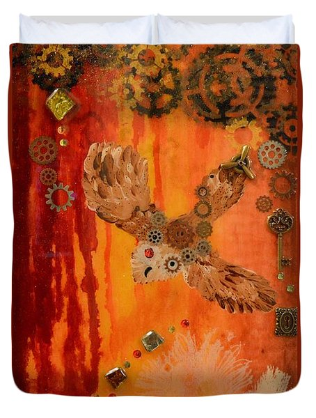 Steampunk Owl Red Horizon Duvet Cover