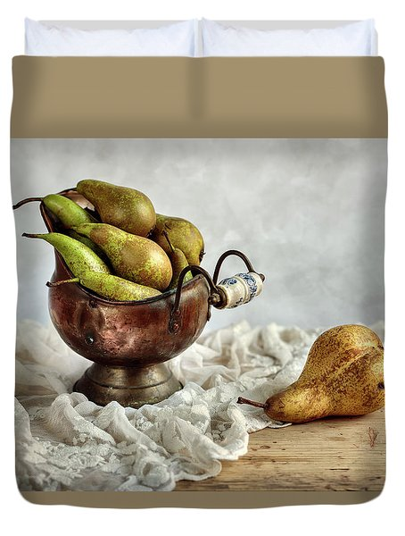 Still-life With Pears Duvet Cover by Nailia Schwarz