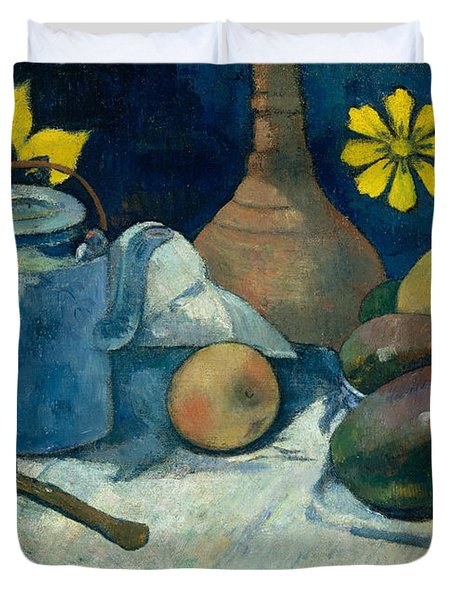 Still Life With Teapot And Fruit Duvet Cover