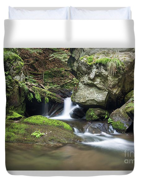 Duvet Cover featuring the photograph Stone Guardian Of The Waterfalls - Bizarre Boulder On The Bank by Michal Boubin
